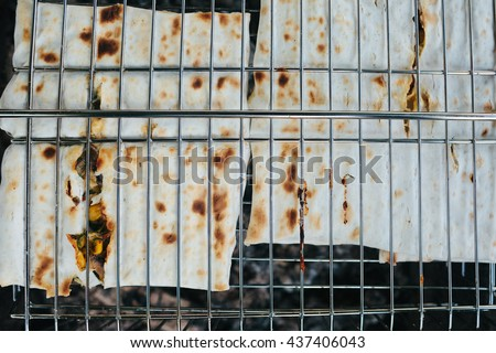Pita bread on the grill. outdoor
