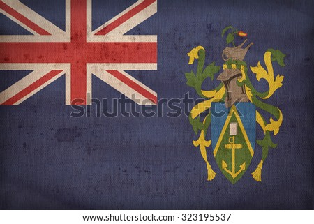 Pitcairn Island flag pattern on fabric texture,retro vintage style