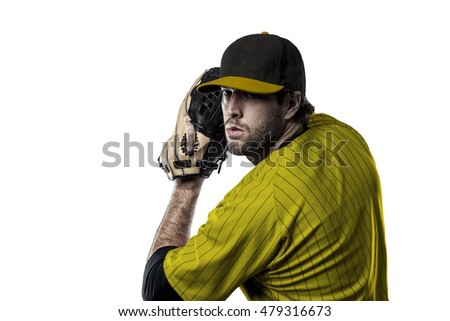 Pitcher Baseball Player with a yellow uniform on a white background.
