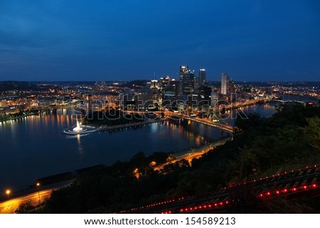 Pittsburgh, Pennsylvania - city evening view in the United States. Skyline with Allegheny and Monongahela River.