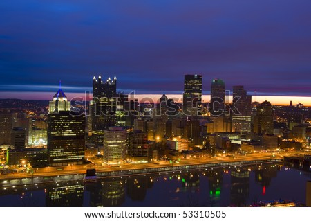 Pittsburgh skyline from Mount Washington at sunrise