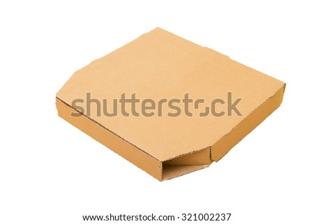 Pizza box isolated on white background side view