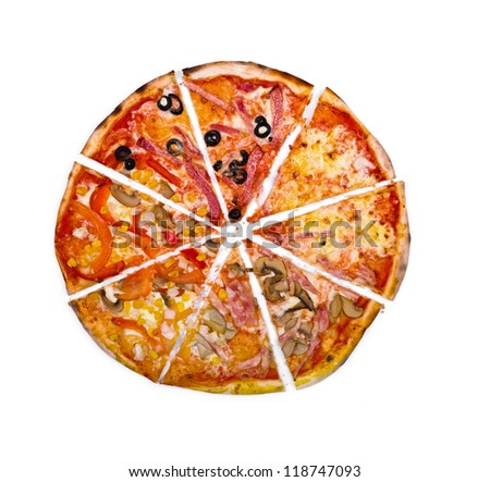 six slices pizza different toppings on stock photo 114129121 shutterstock. Black Bedroom Furniture Sets. Home Design Ideas