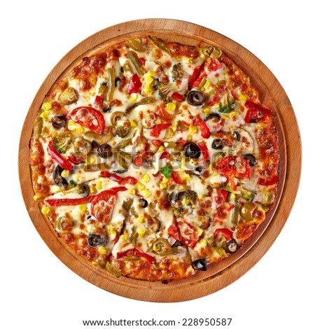 Pizza top view on white background including clipping path