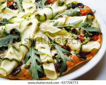 Pizza vegetarian with vegetables.