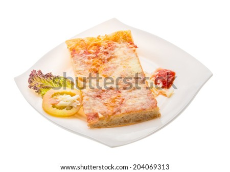 Pizza with tomato sauce and mozarella isolated