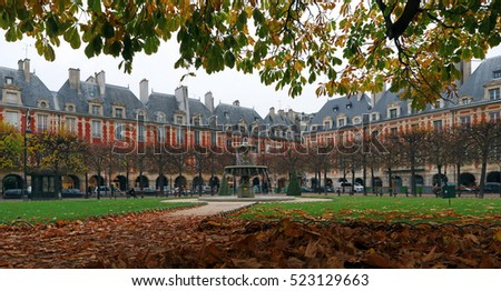 Place des Vosges square in autumn season