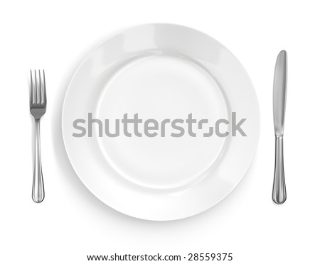 Place setting with high-gloss plate, knife & fork. Isolated on white. Pro clipping path.