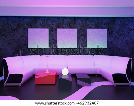 place to relax in a nightclub, 3d rendering