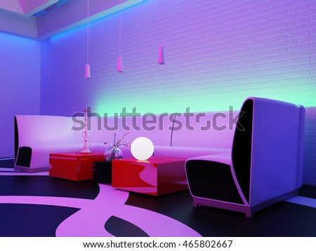 place to relax in nightclub, 3d rendering