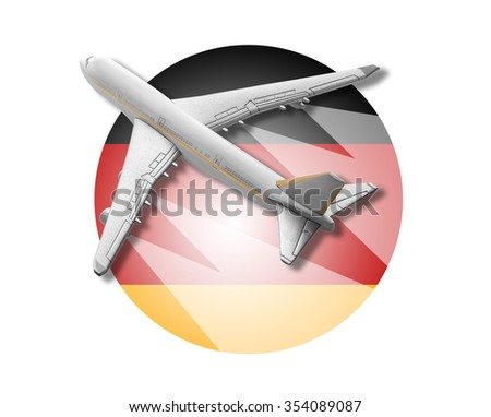 Plane on the background flag of the Germany. Travel concept.