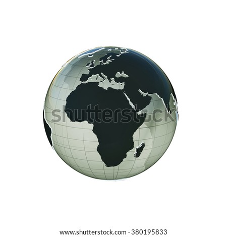 planet earth extruded isolated on white background