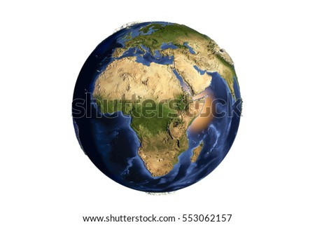 Planet Earth from space showing Africa with enhanced bump isolated on white background,3D illustration, Elements of this image furnished by NASA