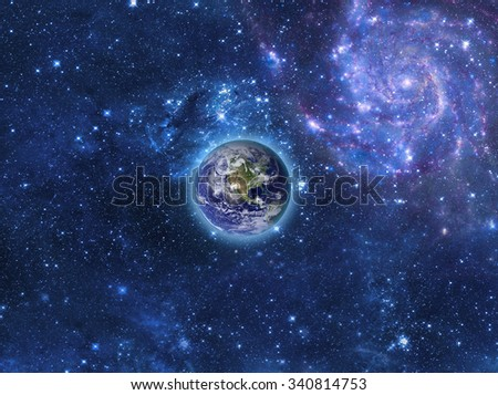 Planet earth outer space imaginary view stock photo for Outer space elements