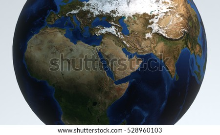 Planet Earth view. Showing Africa continent, 3d render
