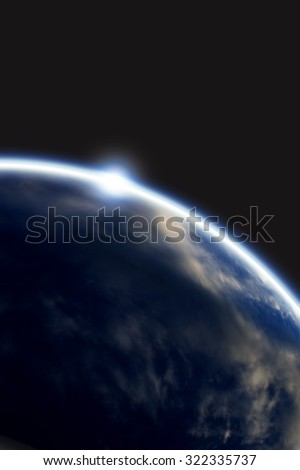 Planet earth with appearing sunlight