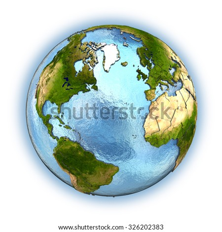 Planet Earth with embossed continents and country borders. Europe and north America. Isolated on white background. Elements of this image furnished by NASA.