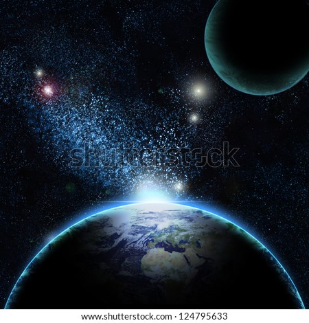Planet earth with sun rising over North of America (Elements of this image furnished by NASA)