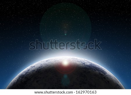 Planet  with sunrise in space. Elements of this image furnished by NASA