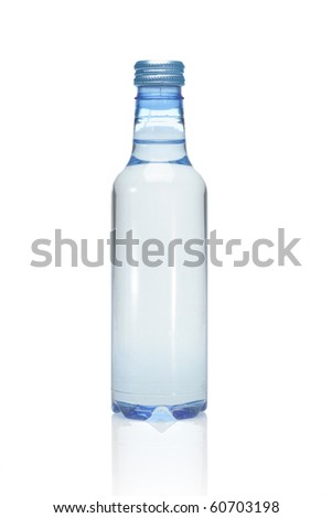 Plastic bottle of mineral water on white background