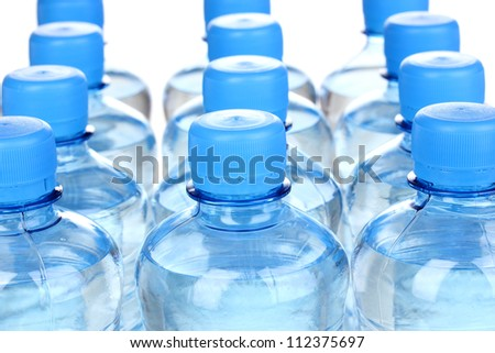 plastic bottles of water close-up