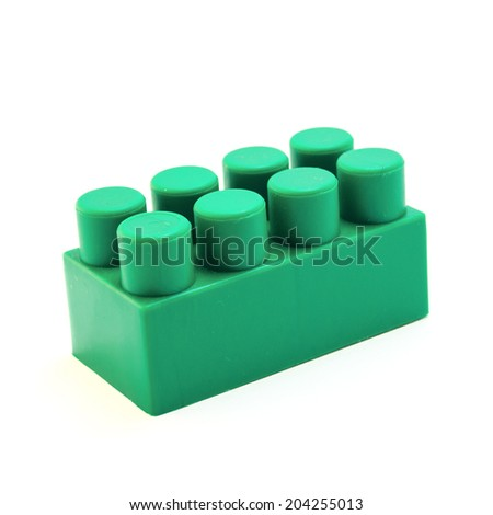 Plastic building block isolated on white background