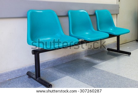 Plastic chair to sit and wait in hospital.