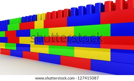 plastic construction on white background