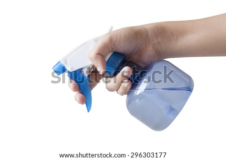 Plastic foggy sprayer bottle in hand isolated on white background.