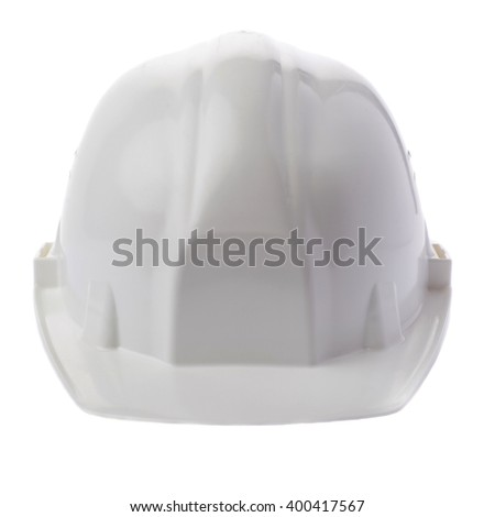 Plastic safety helmet over isolated white background