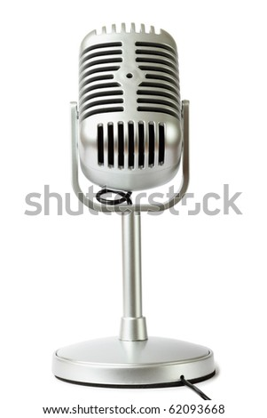 plastic studio microphone metallic color on pedestal, front view, isolated on white