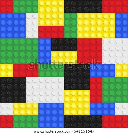 Plastic toy building blocks background. Repeating tileable illustration that repeats left, right, up and down