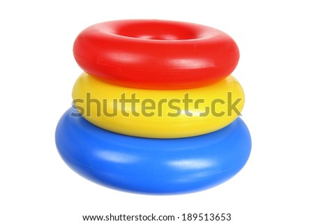 Plastic Toy Rings on White Background