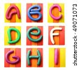 Plasticine alphabet isolated over white background, Letters A-I - stock photo