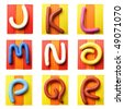Plasticine alphabet isolated over white background, Letters J-R - stock photo