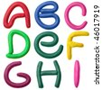 Plasticine alphabet isolated over white background, Lettrs A - I - stock photo
