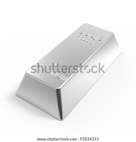 Platinum ingot isolated on white. Computer generated 3D ...