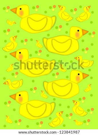 yellow duck swims across green background filled with baby ducks ...
