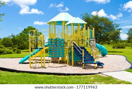 Playground equipment on a warm summers day