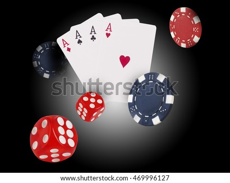 Playing cards and chips flying at the poker table.