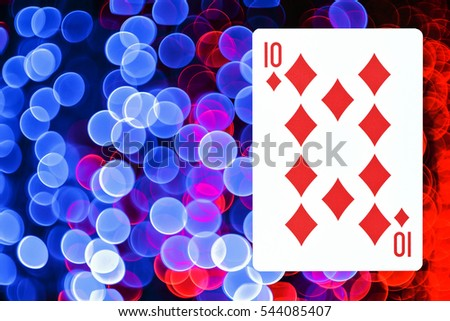 Playing cards old ( 10 ) isolated Background bokeh