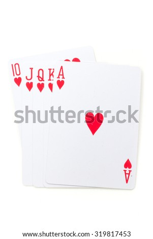 playing cards over white background