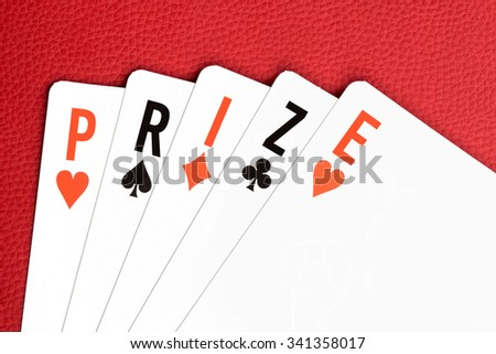 "Playing cards with ""PRIZE"" text"