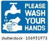 please wash your hands sign (please wash your hands icon, please wash your hands symbol, please wash your hands label) - stock photo