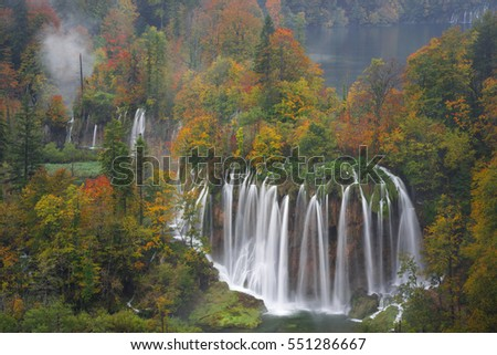 Plitvice lakes of Croatia - upper falls - national park in autumn