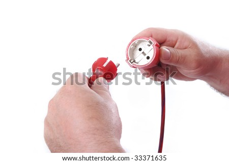 Plug in cable in male hands together