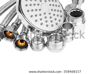 Plumbing hosepipe and showerhead, isolated on white background