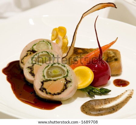Poached guinea fowl stuffed with fois gras, morels, and confit shallot ...