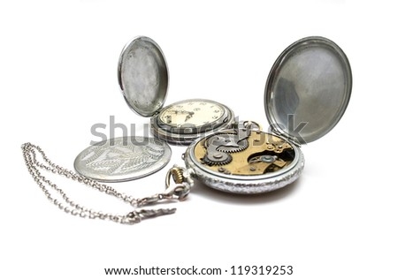 Pocket old watch on a white background
