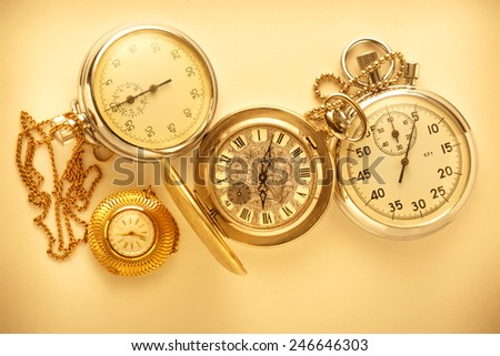 Pocket vintage watch and stopwatch in toning
